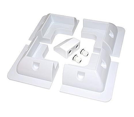6 pc Solar Panel Mounting Bracket White Rectangle Set & Cable Entry Kit Adhesive Bond Lowenergie