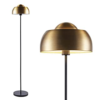 Ambiore Floor Lamp Dome II - Mid-Century Elegant Indoor Standing Light with Complimentary Bulb for Living Room and Bedroom - Pole Lamp with Antique Brass Dome Shade - Brass & Black Color