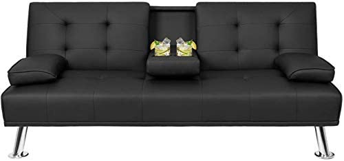 Suwikeke Faux Leather Convertible Futon Removable Armrests/Metal Legs