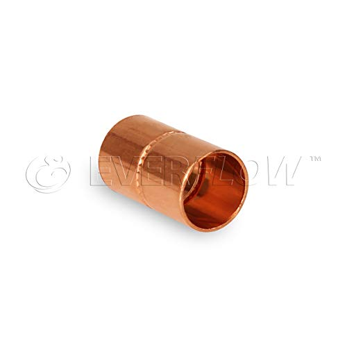 Everflow CCRC0112 Straight Copper Coupling With With Sweat Sockets And With Rolled Tube Stop, 1-1/2 Inch,