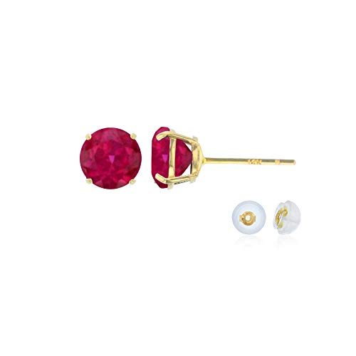 (Genuine 14K Solid Yellow Gold 4mm Round Created Ruby July Birthstone Stud Earrings)