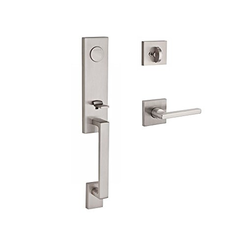 Left Baldwin Hardware Hand (Baldwin FDSEAXSQULCSR150 Reserve Full Dummy Handleset Seattle x Square with Contemporary Square Rose in Satin Nickel Finish Left hand)