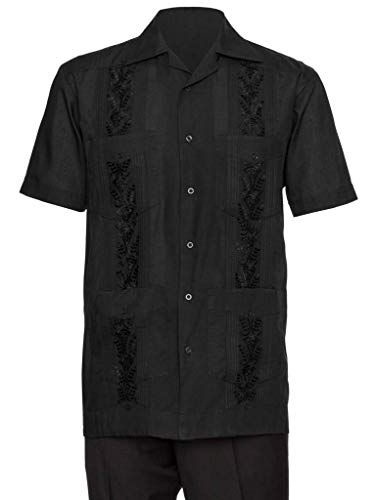 Gentlemens Collection Mens Guaybera Shirt - Embroidered Black Large
