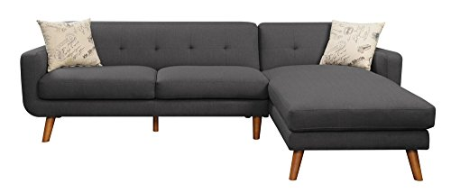 Emerald Home Remix Charcoal Sectional, with Pillows, Button Tufted Back, Telescoped Wood Legs, And Track Arm