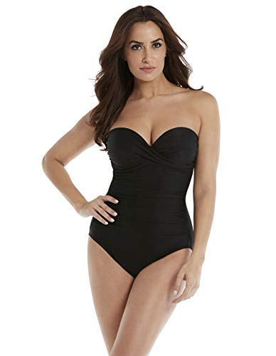 Miraclesuit Women's One Piece Underwire Bandeau Swimsuit Black 16 from Miraclesuit