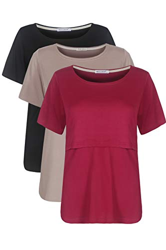 Smallshow 3 Pcs Maternity Nursing T-Shirt Nursing Tops Medium Brown-Black-Burgundy