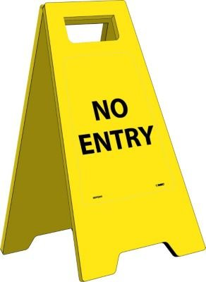 """NMC HDFS205 Heavy Duty Floor Stand Sign, Legend """"NO ENTRY"""", 10-3/4"""" Length x 24-5/8"""" Height, Black on Yellow"""