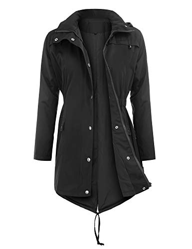 Uniboutique Raincoats Waterproof Lightweight Rain Jacket Active Outdoor Hooded Women's Trench Coats,Black,Large
