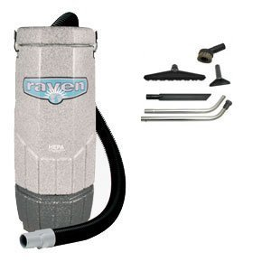 Raven 10 Quart Backpack Vacuum with 5 pc Standard Tool Kit, 11.5 Amps, 115 Volt, 1 Stage 1200 Watt Motor ()