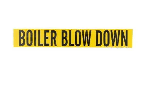 B-946 Black On Yellow Pressure Sensitive Vinyl Legend Boiler Blow Down 2 1//4 Height X 14 Width Legend Boiler Blow Down Brady 7030-1 Self-Sticking Vinyl Pipe Marker 2 1//4 Height X 14 Width