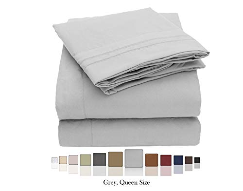 FBTS Basic Bed Sheets Queen Size Double Brushed Microfiber 1800 Series - 4 Piece Sheet Sets 18