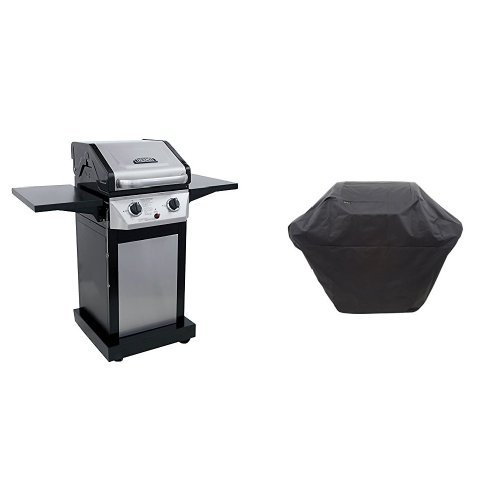 2 Systems Burner (Thermos 300 2-Burner Cabinet Gas Grill with Char-Broil 2 Burner Medium Ripstop Grill Cover)