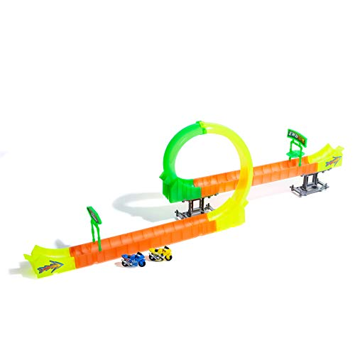 37-Piece High-Speed Triple Loop Tower Challenge Motorcycle Track with 2 Included Motorcycles