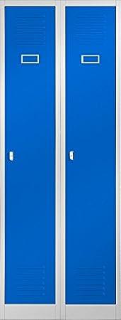 Kleiderspind Stahlspind Garderobenschrank Spind Pulverbeschichtung Flü geltü ren, Lü ftungsschlitzen, 2 Abteile Trennwand 180 cm x 60 cm x 50 cm (H x B x T) (grau/blau) Domator24 2B1AS