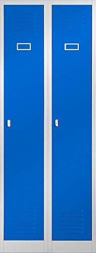 H x l x P Gris//Bleu Fentes da/ération et 2 parois de s/éparation 180 x 60 x 50 cm Portes battantes Jan Nowak by Domator24 Spind Spind Penderie en Acier avec rev/êtement Poudre