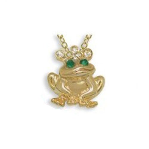 Box Velour Bracelet (DMM Frog Pendant Gold and Crystal Necklace with Shaped Velour Jewelry Gift Box)