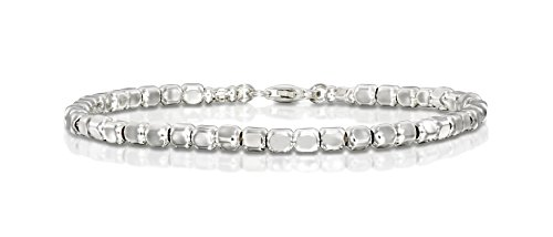 Women's Square Beads Bracelet Dazzling 925 Sterling Silver Beaded Bracelet, 7