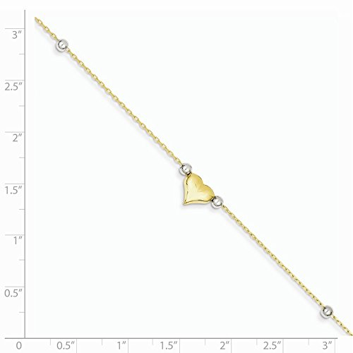 ICE CARATS 14k Two Tone Yellow Gold Heart Beads Anklet Ankle Beach Chain Bracelet Fine Jewelry Gift Set For Women Heart by ICE CARATS (Image #5)