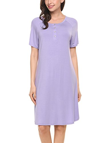 (Hotouch Sleepwear Womens Cotton Nightgown Lace Sleep Nightdress Short Sleeve Nightshirt S-XXL (S, 12-Light Purple))