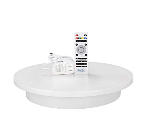 ComXim Professional 360 Degree Photography Turntable for Product Photography, 15.8in(40cm) Diameter,Automatic Remote Control Angle,Speed,Direction, Various Rotation Mode (White)