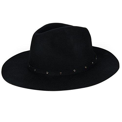 Aerusi's Unisex 100% Wool Floppy Hat [Onyx Black] w/ Removable Studded Band (Hat Studded Wool)