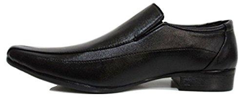 MONTI ALBANI 80125 Black Leather Look Formal Slip On Shoe