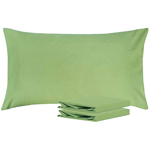 NTBAY King Pillowcases, Set of 2, 100% Brushed Microfiber, Soft and Cozy, Wrinkle, Fade, Stain Resistant, with Envelope Closure, Sage Green
