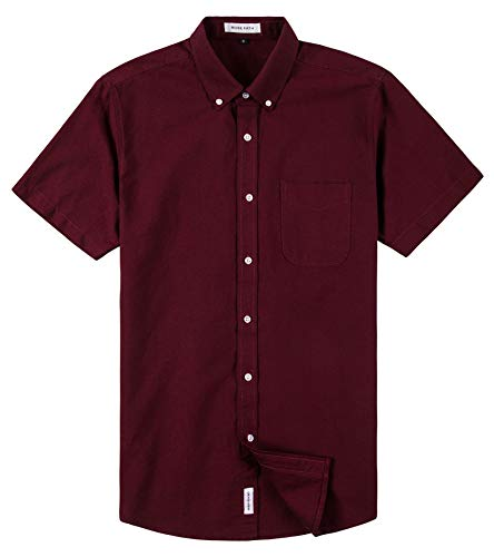 MUSE FATH Men's Short Sleeve Oxford Casual Button Down Point Collar Shirt with Chest Pocket-Wine Red-L ()