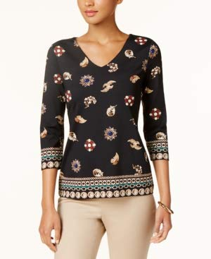 Charter Club Jewelry-Print V-Neck Top (Deep Black Combo, L) from Charter Club
