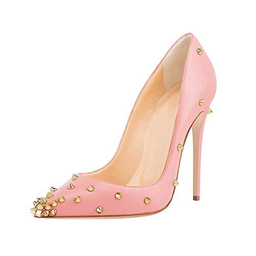 Femmes Pink Plateforme Talon Escarpins Hauteur De Du Fermé Étanche Simples Jour Talons Chaussures Robe Pointé 12Cm Bout Aiguilles Clouté wUIfUr