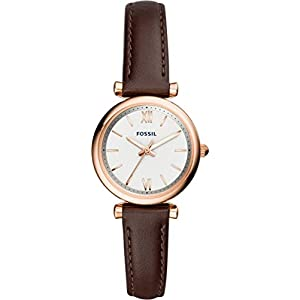 Fossil Analogue Display White Dial Watch with Leather Strap
