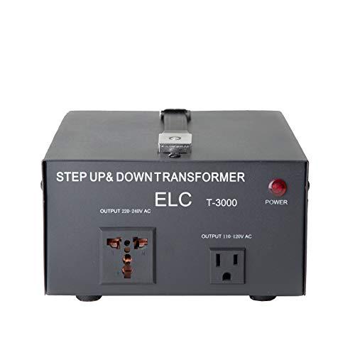 ELC T-3000UD T-3000+ 3000-Watt Voltage Converter Transformer - Step Up/Down - 110V/220V - Circuit Breaker Protection Heavy Duty