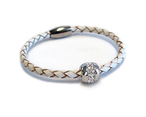 Liza Schwartz Jewelry Good Karma Leather Bracelet (White-Silver)