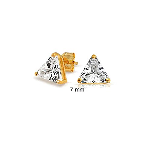 1.5CT Triangle Shaped Cubic Zirconia Basket Set Trillion Cut CZ Stud Earrings 14K Gold Plated 925 Sterling Silver