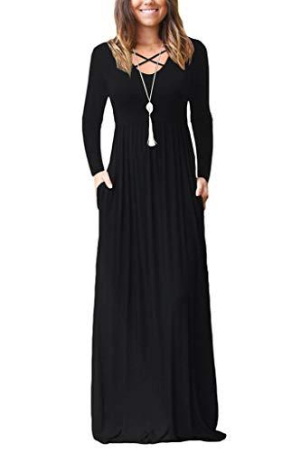EZBELLE Women's Long Sleeve Maxi Dresses with Pockets Plain Loose Casual HighWaisted Long Dresses Black Large
