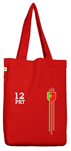ShirtStreet Soccer World Cup Fussball WM Fanfest Gruppen Bio Baumwoll Jutebeutel Stoffbeutel Streifen Trikot Portugal Red gHW7L