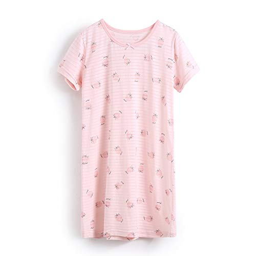 AOSKERA Girls' Strawberry Nightgowns 100% Cotton Sleepwear Soft Sleep Shirt Size 10-12]()