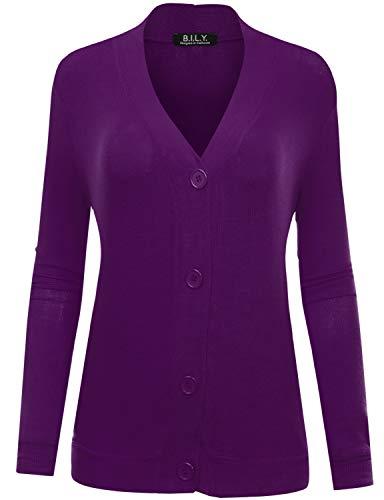 BH B.I.L.Y USA Women's Button Sweater Cardigan with Pockets Purple XXX-Large