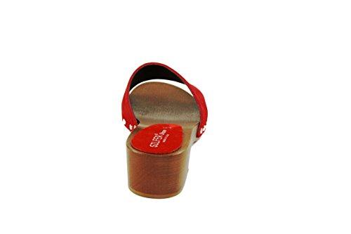 en de chamois Socle rouge et peau bois SilferShoes Czq5UfO