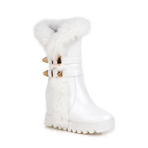 Allhqfashion Women's High-Heels Round Toe Blend Materials Mid-top Boots White l6qfS
