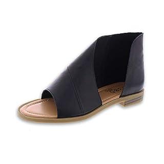 385 Fifth Women's Faux Leather Half D'Orsay Open Toe