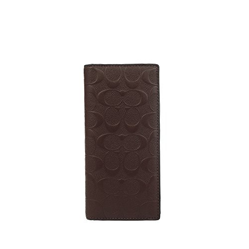 COACH MENS BREAST POCKET WALLET IN SIGNATURE CROSSGRAIN LEATHER MAHOGANY F75365 (Leather Breast Pocket Wallet)