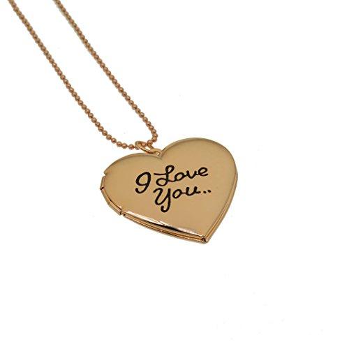 Fun Daisy Gold Tone Photo Heart Locket Pendant I Love You 18