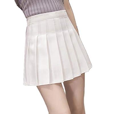 Huicai Girls Women high Waist Knitted Flared Pleated Skater A-line Skirt