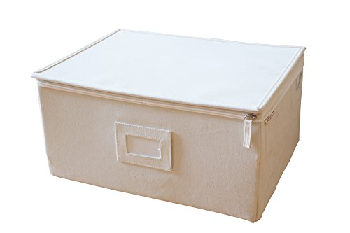 InThiSPACE Canvas Box with Lid and Soft Cloth Liner, 15-inch x 11-inch x 7-inch, Tall, Large