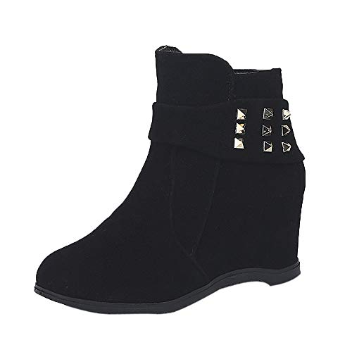 HARRYSTORE Women Platform Wedge Heel Boots Increased Platform Fashion Casual Ankle Boots Autumn Shoes Black