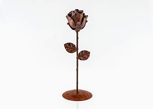 - ♥ Eternal Rose Hand-Forged Wrought Iron Rusted + base
