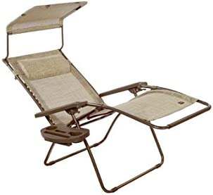 Bliss Hammocks Zero Gravity Chair with Covered Bungees, Pillow, Canopy and Side Tray, Sand