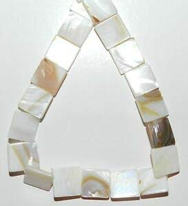 MP979 White Natural 11mm - 13mm Flat Square Mother of Pearl Shell Beads 15