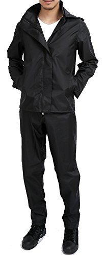 QZUnique Men's Fashion Outdoor Waterproof Packable Zipper Rain Jacket Poncho with Hood Raincoat Set Black US (Golf Rainsuit)